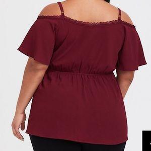 26d76d05f3628 torrid Tops - Torrid burgundy cold shoulder baby doll blouse